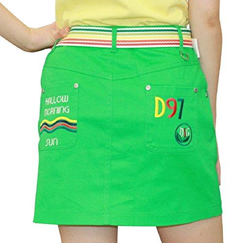 7433 グリーン S 刺繍入台形スカート 布帛 DELSOL GOLF 夏 ゴルフウエア レデイース 小さいサイズ ストレッチ