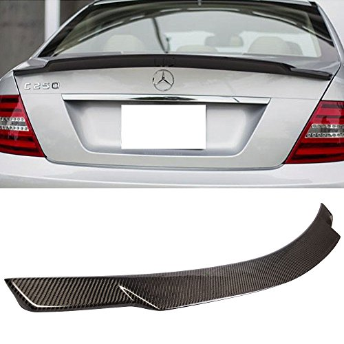Trunk Spoiler Fits 2008-2014 Benz C-Class W204 4-Door   V Style Carbon Fiber(CF) Finisher Rear Tail lid Deck Boot Wing by IKON MOTORSPORTS   2009 2010 2011 2012 2013