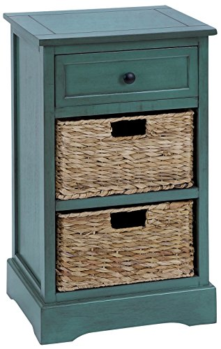 Urban Designs Malibu 3-Drawer Night Stand with Wicker Baskets, Teal