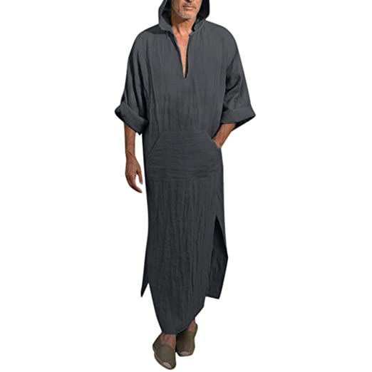 27a8504f8a AMSKY❤Mens Ethnic Robes Loose Solid Long Sleeve Loose Hooded ...