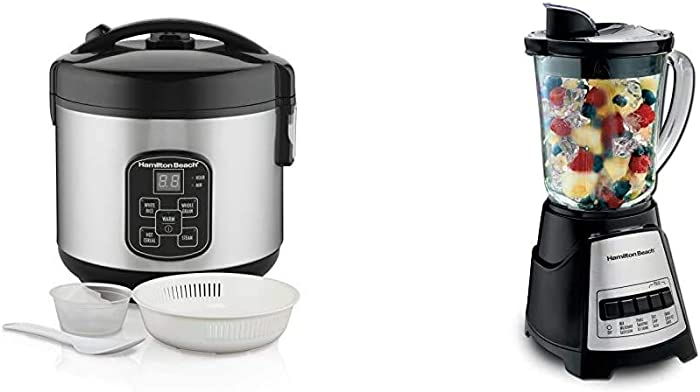 Hamilton Beach Digital Programmable Rice Cooker & Food Steamer, 8 Cups Cooked (4 Uncooked) & Power Elite Blender with 12 Functions for Puree, Ice Crush, Shakes and Smoothies, Black