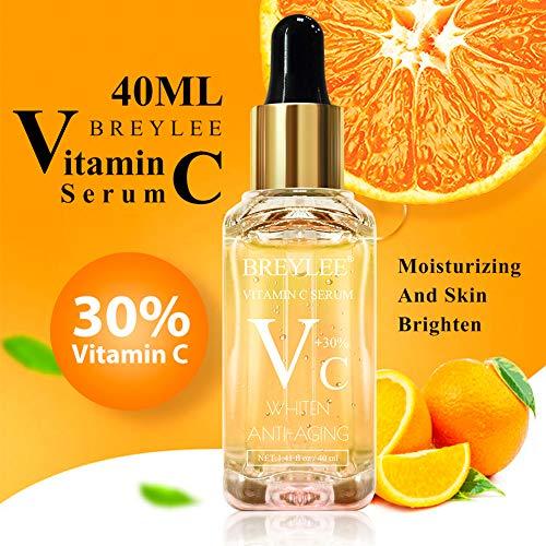 51%2Be8yXxKYL - Vitamin C Serum, BREYLEE Anti-Aging Facial Serum with Hyaluronic Acid, Retinol, and Vitamin E Moisturizing Face Serum for Skin Whiten Skin Brighten, Fades Sun Spots (40ml, 1.41oz)