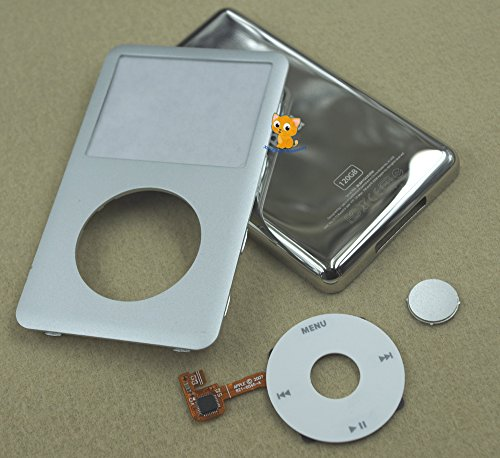 Full Set Metal Silver Front Faceplate Fascia Back Housing Case Cover Shell White Clickwheel Flex Silver Central Button Key + Tools for Ipod 6th Gen Classic 120gb