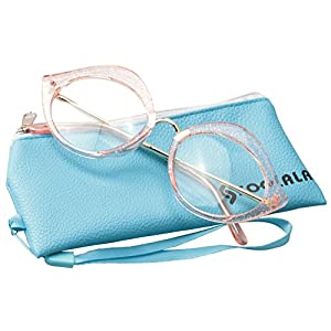 SOOLALA Unique 55mm Lens Cat Eye Reading Glass Stylish Designer Eyeglass Frame, Pink, +2.0
