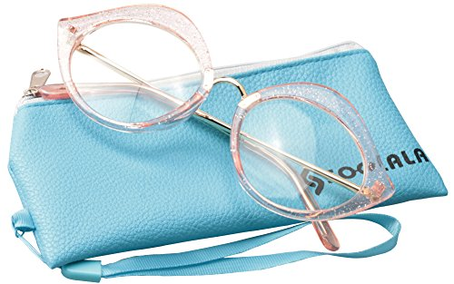 SOOLALA Unique 55mm Lens Cat Eye Reading Glass Stylish Designer Eyeglass Frame, Pink, +2.0