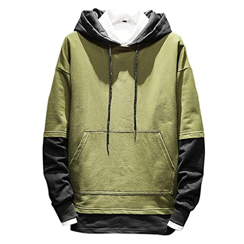 Sunhusing Men's Solid Color Casual Patchwork Pocket Stitching Drawstring Hooded Long-Sleeve Sweatshirt Tops Army Green