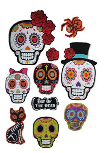 Sugar Skull Day of the Dead Party Decorations Includes 10 Cutouts