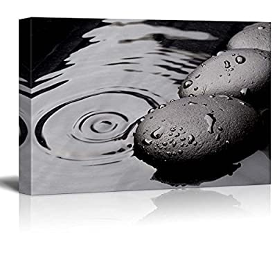 Black Rocks on a Lake - Canvas Art Home Art - 12x18 inches