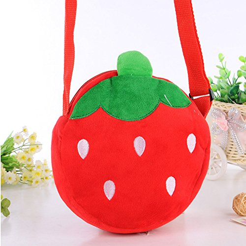 Meanhoo Cute Small Fruit Strawberry Children Schoolbag ,Kindergarten Snack Pack Single Shoulder Bag for Kids Girls