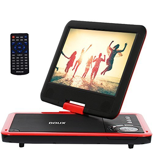 DOUX 9-Inch Screen Portable DVD/CD/MP Player with 5 Hour Built-In Rechargeable Battery, USB/SD Card Reader--(Red), Worth Your Trust and Choose by DOUX