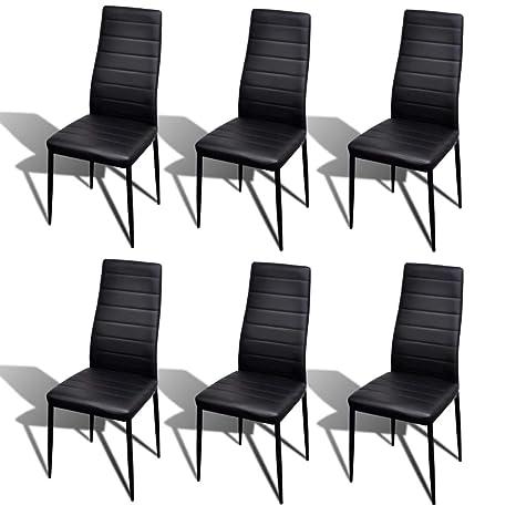 Xinglieu 6 Unidades sillas de Mesa Línea Fina Negras sillas de ...