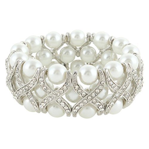 (EVER FAITH Wedding X-Shape Ivory Color Simulated Pearl Stretch Bracelet Clear Austrian Crystal Silver-Tone)