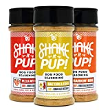 Shake it Pup! Dog Food Seasoning - Natural, Human Grade Powder Topper, Flavor Enhancer, Broth, and Gravy for Dogs Kibble or Raw, 4.5oz Bottles (3-Bottle Set (Bacon + Pizza + BBQ Chicken), 1-Pack)