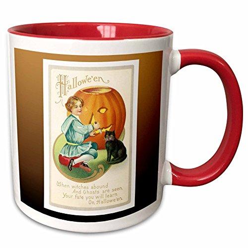 3dRose BLN Vintage Halloween - Vintage Halloween Little Boy Carving a Pumpkin with a Black Cat - 15oz Two-Tone Red Mug -