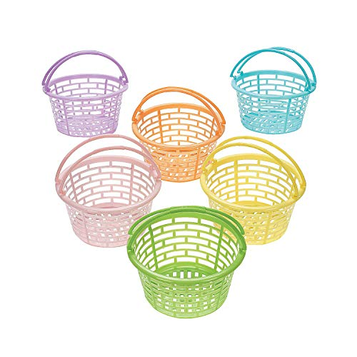 Fun Express - Plastic Pastel Round Baskets for Easter - Party Supplies - Containers & Boxes - Misc Containers & Boxes - Easter - 12 - Easter Basket Oriental
