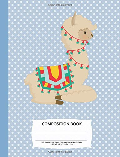Download Alpaca Llama Blue Polka Dot Composition Notebook, Blank Sketch Paper: Drawing Sketchbook Art Book 200 pages (Cute Animals Series) PDF