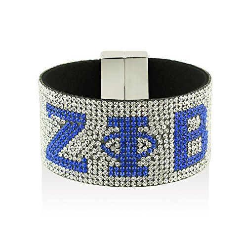 New Zeta Phi beta Austrian Crystal Bracelet With Magnetic Closure - Silver With Blue Stones Sparkling Pave Bracelet