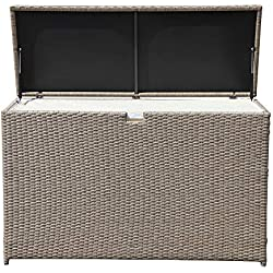 PATIOROMA Outdoor Storage Box, Patio Aluminum Frame Wicker Cushion Storage Bin Deck Box, Warm Grey