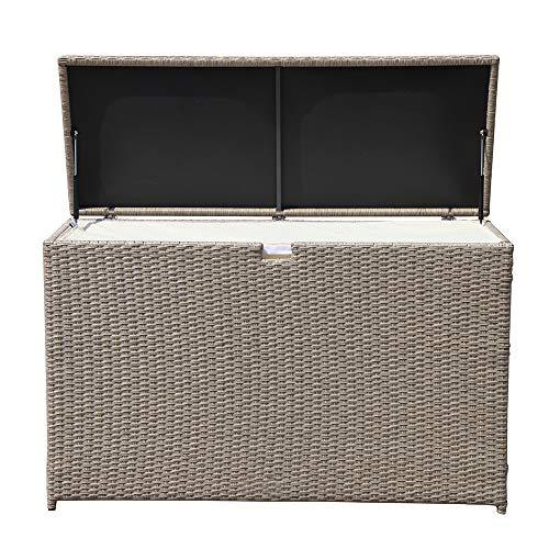PATIOROMA Outdoor Storage Box, Patio Aluminum Frame Wicker Cushion Storage Bin Deck Box, Warm Grey
