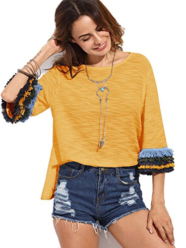 Milumia Women's 3/4 Sleeve Side Split T-Shirt Blouse Tunic Tops (Large, Yellow)