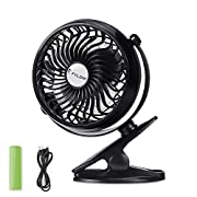 FYLINA USB Fan Mini Clip On Desk Fans Rechargeable and 2600mAh Battery Powered for Baby Stroller, Metal Design and 4.9ft USB Cable (Enhanced Airflow, Lower Noise, Black)