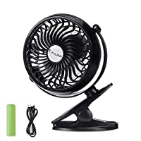 FYLINA USB Fan Mini Clip On Desk Fans Rechargeable and 2600mAh Battery Powere...