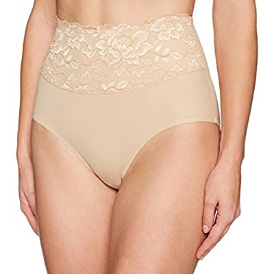 Brand - Arabella Women's Microfiber and Lace Waist Smoothing Shapewear Brief: Clothing