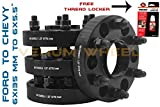 4 Pc Black Hub Centric Conversion Wheel Spacers 2015-2018 Ford 6x135 mm To Chevy/GMC 6x5.5'' (6x139.7mm) Wheel Adapters 1.25'' Thick Allows You To Put Chevy Wheels On Ford Trucks