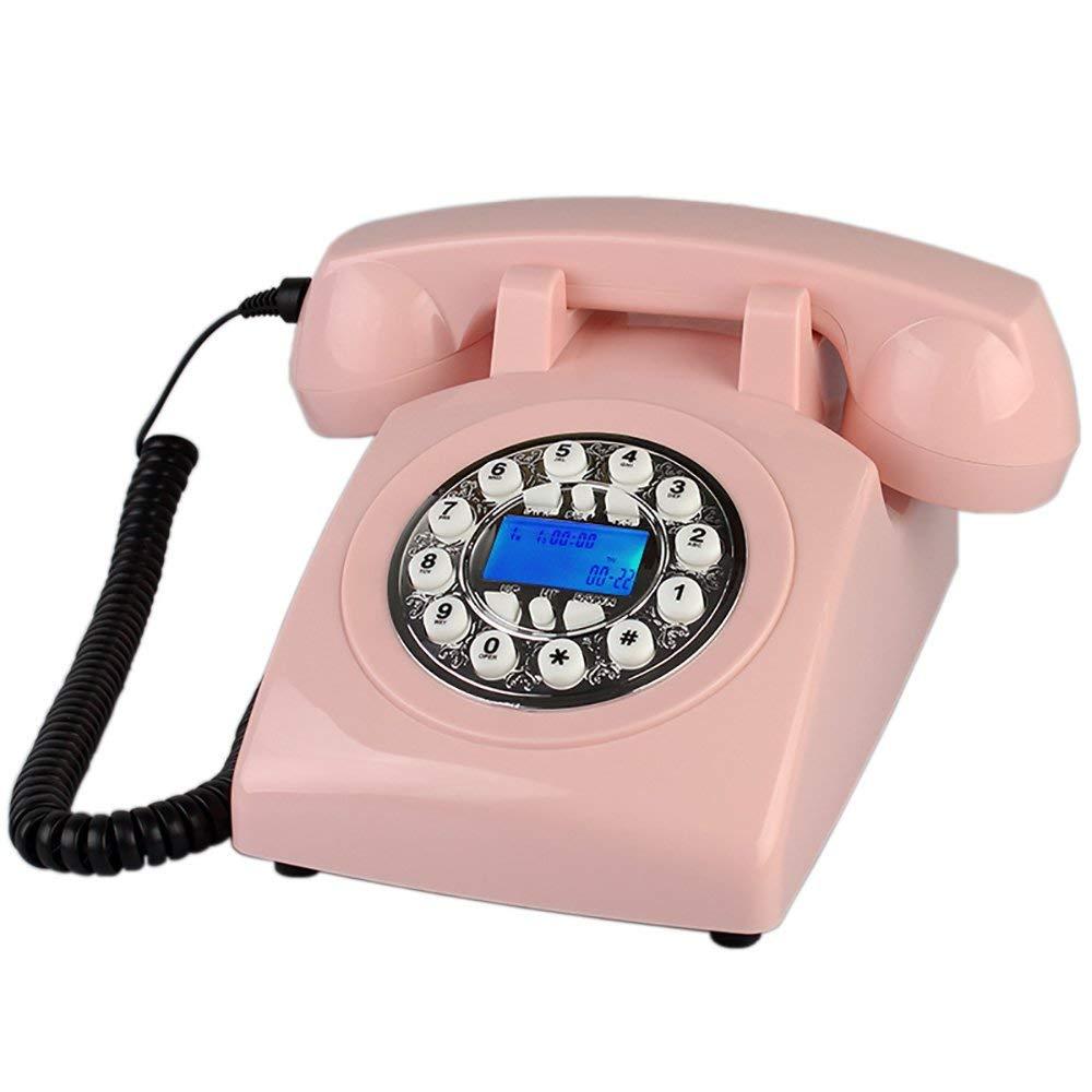 Lixingmingqi 回転式ダイヤルが付いているレトロの電話、電話ヨーロッパのABS緑のプラスチックボタン田舎の席の電気ベルのレトロな総本店の電話 (Color : Silver)  Silver B07RXXG3KW
