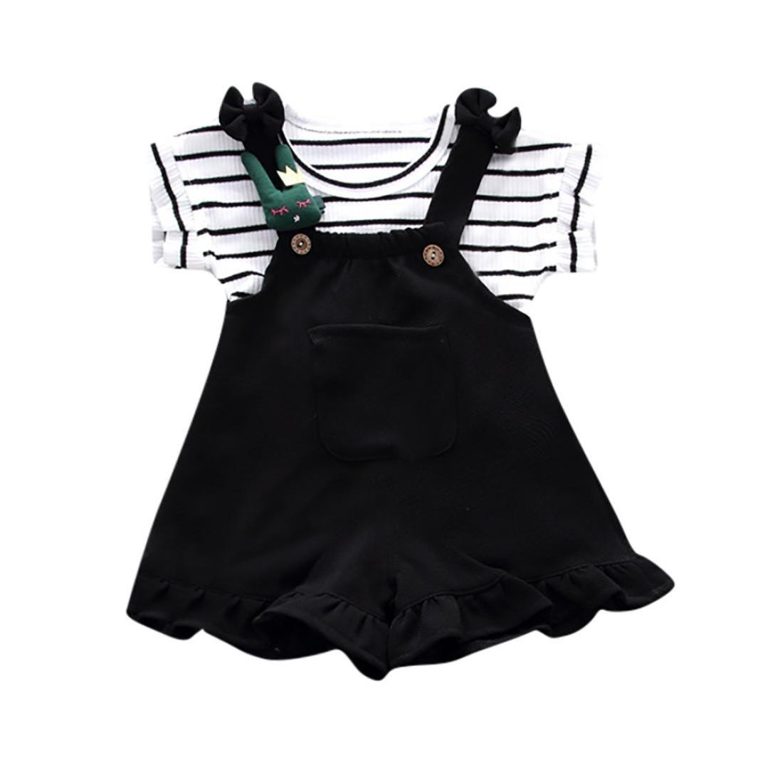 Counjunto de ropa bebé niña, ❤️ Amlaiworld Linda Camisa de manga corta a rayas de verano para niñas bebé + pantalón corto de tirantes Bebés Conjuntos 6 Mes - 3 Años Amlaiworld 1
