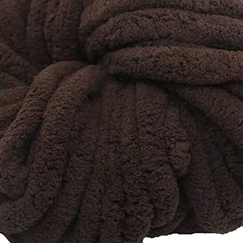 (Coffee Chunky Chenille Yarn,4.4lbs/2kg Arm Knit Yarn, Baby Yarn,Soft Yarn 100% Polyester,Hand Knitting Yarn,Jumbo Yarn,Knitting Materials for Blankets,Rug,Pet Bed,Hat)