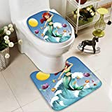 HuaWuhome 2 Piece Extended Bath mat Set a Big Wave with a Mermaid and a School Fishes 2 Piece Toilet Cover Set