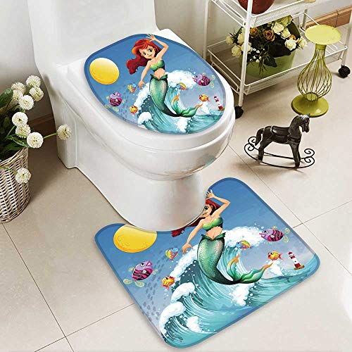 HuaWuhome 2 Piece Extended Bath mat Set a Big Wave with a Mermaid and a School Fishes 2 Piece Toilet Cover Set by HuaWuhome (Image #4)