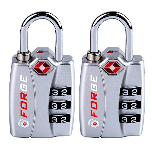Forge TSA Locks 2 Pack Silver - Open Alert Indicator, Easy Read...