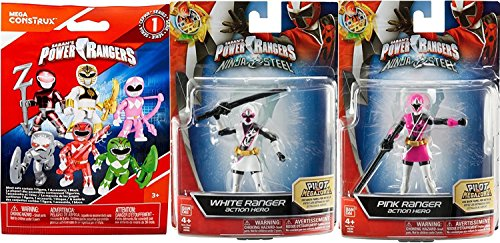 "Pink & White Power Rangers Figures 2-Pack Saban's Ninja Steel Edition 5"" with Battle Gear Pink Ranger with Sword & Master Mode Action Hero Figure + Bonus Blind Bag Buildable Mini Figure & Accessory"