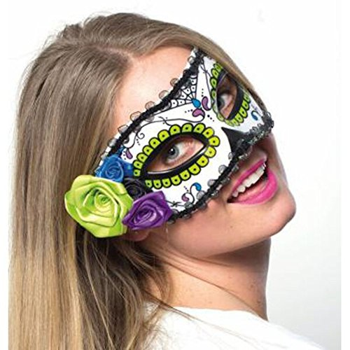 HMS Women's Day Of The Dead Mask with Flower Trim, White, One Size (Day Of The Dead Mask For Sale)