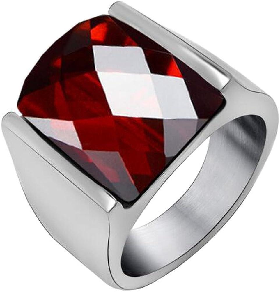 PAURO Hombre Acero Inoxidable Diamante Corte Ágata Anillo De Piedras Preciosas con Pulido Lado De Plata, Negro Y Rojo