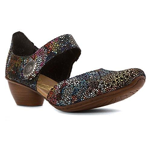 Shoe comfort Women's Black slip Multi on Rieker Mirjam In4w4qaX