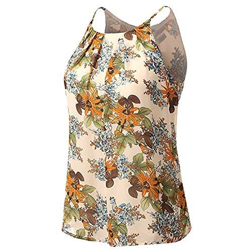 WANQUIY Womens Summer Top Women Crew Neck Sleeveless Floral Print Shirt Tops Tee Tanks Camis