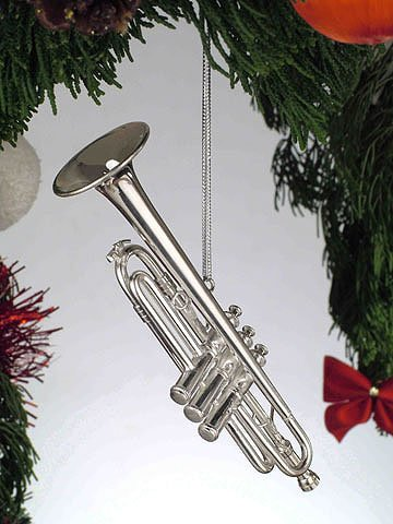 Silver Music Trumpet Musical Instrument Ornament (Musical Ornaments)