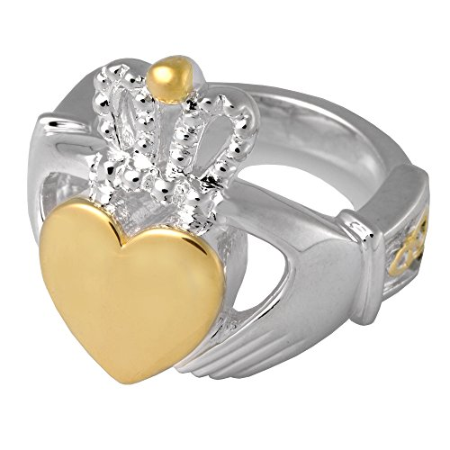 Cremation Memorial Jewelry: Sterling Silver and Gold Plated Claddagh Ring-Size 8