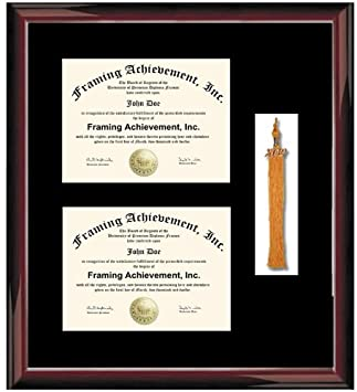 double diploma frame with graduation tassel box premium wood glossy traditional mahogany single black