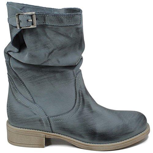 Donna 0380 Biker Italy Estivi Jeans Jeans In Time Primaverili Vera Pelle Blu in Made Nabuk Bassi in Stivaletti Boots 0BF8w