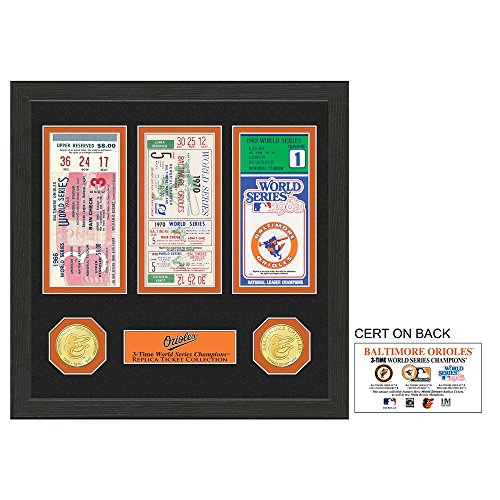 """MLB Baltimore Orioles World Series Ticket Collection, 17 """" x 14"""" x 3"""", Black"""