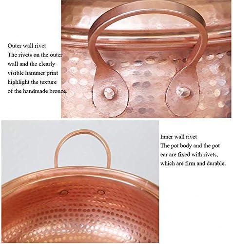 xcxc Pot à Soupe en cuivre Fait à la Main, Casserole à ragoût de marmite avec Couvercle ustensiles de Cuisine sains à feu Ouvert A 3.7Quart