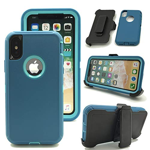 iPhone XR Case, Kecko Heavy Duty Shockproof Weather Proof Scratch Resistant Tough Screenless Military Grade Armor Defender Case Cover withl Belt Clip Holster for Apple iPhone XR (Teal Blue)