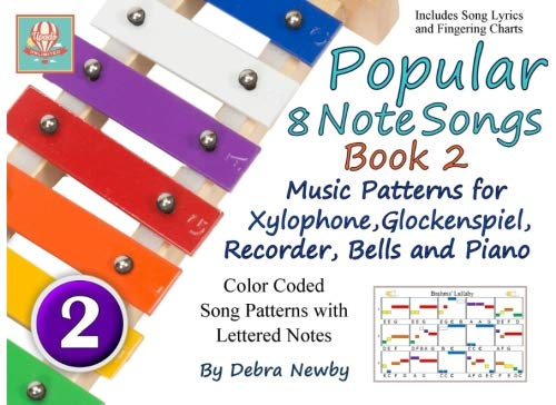 Popular 8 Note Songs Book 2: Music Patterns for Xylophone, Glockenspiel, Recorder, Bells and Piano (Volume 8)