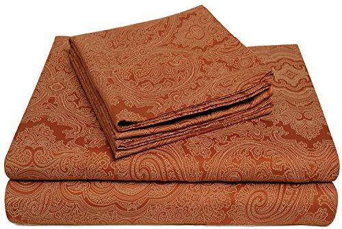 Superior 3 Piece Cotton Blend 600 Thread Count Paisley Sheet Set, Twin X-Large, Pumpkin -