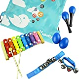 kilofly Mini Band Musical Instruments Value Pack, Xylophone + 6 Rhythm Toys [2 Maracas, 2 Egg Shakers, 2 Wrist Bells, Blue]