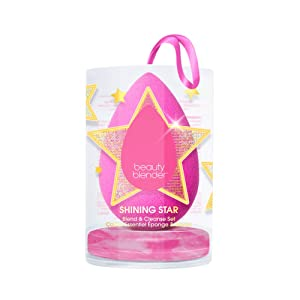BEAUTYBLENDER Limited Edition SHINING STAR Blend & Cleanse Set With Makeup Sponge for Liquid Foundations, Primers, Powders & Creams, and Blender Cleanser, Cruelty Free, Vegan and Made in the USA